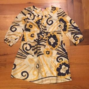 Lilly pulitzer 6 gold blue dress silk used